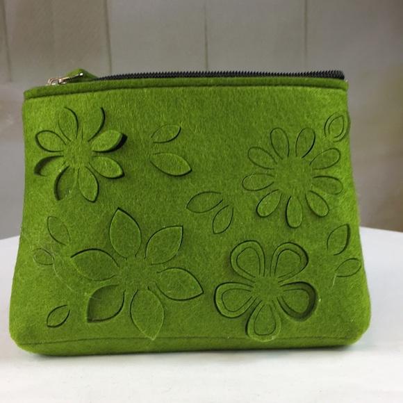 Handbags - Green Felt Cutout Makeup Bag